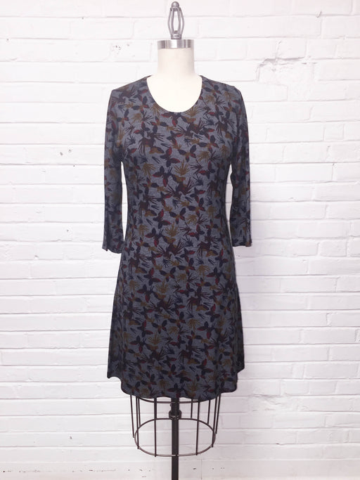 Quarter Sleeve Dress in Fluttering Fall Print