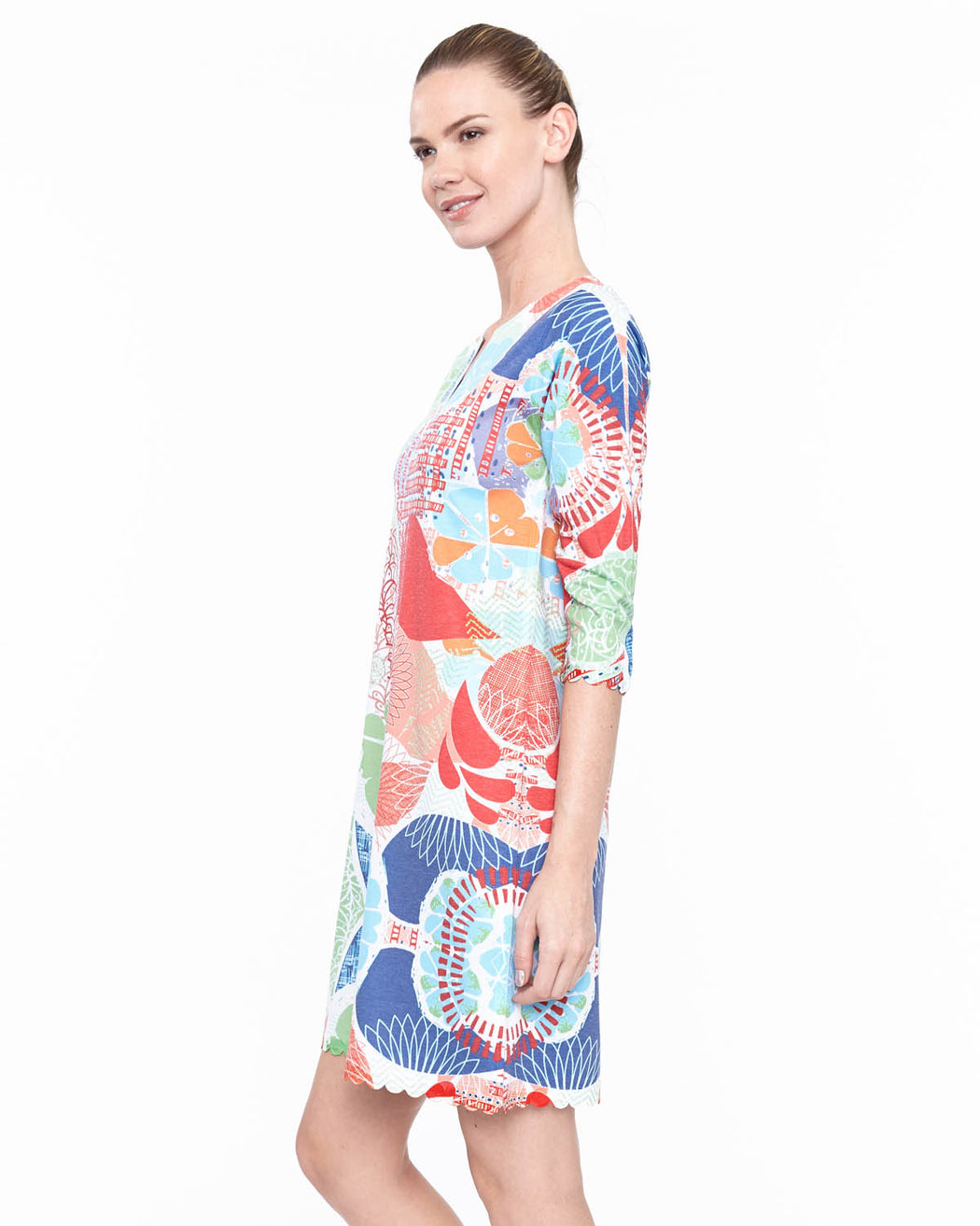 Hawaiian Notch Neck Dress in Cirque Print - Atelier5