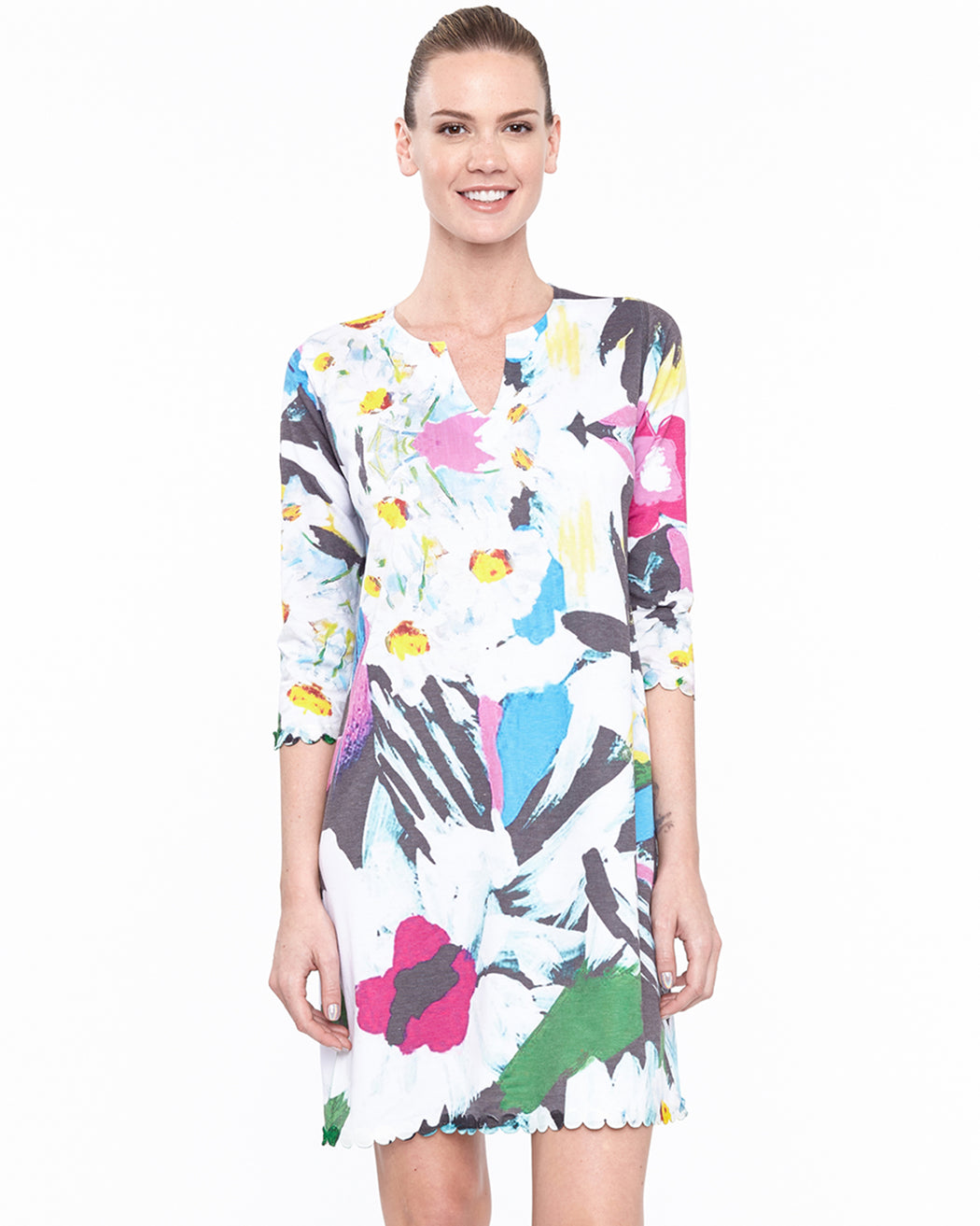 Hawaiian Notch Neck Dress in Wonderland Print - Atelier5