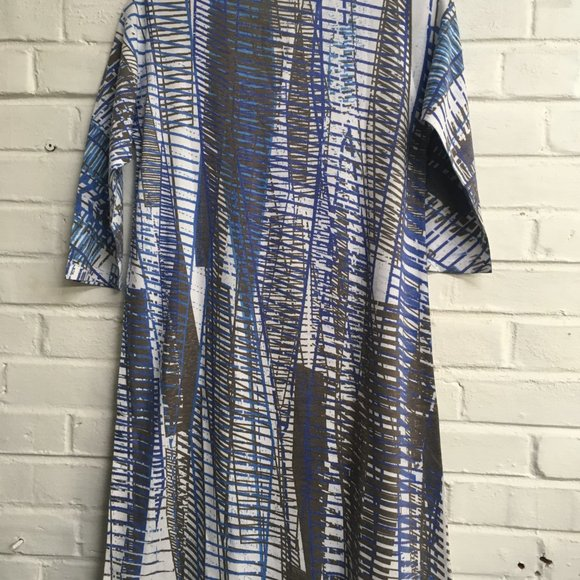 Hawaiian Notch Neck Dress in Blue Geometric