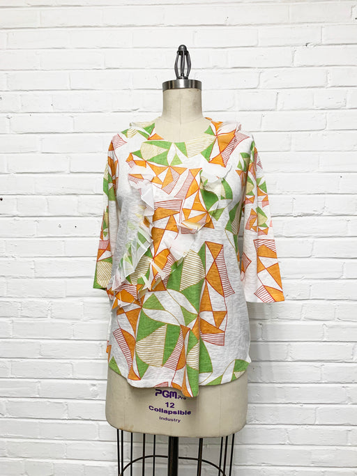 Peony Tunic in Orange Green Geometric Print