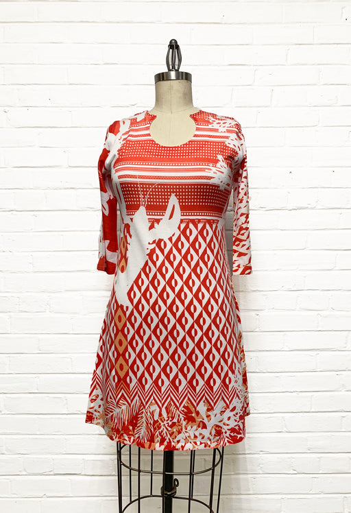 Round Neck Dress in Geometric Red Coral Print