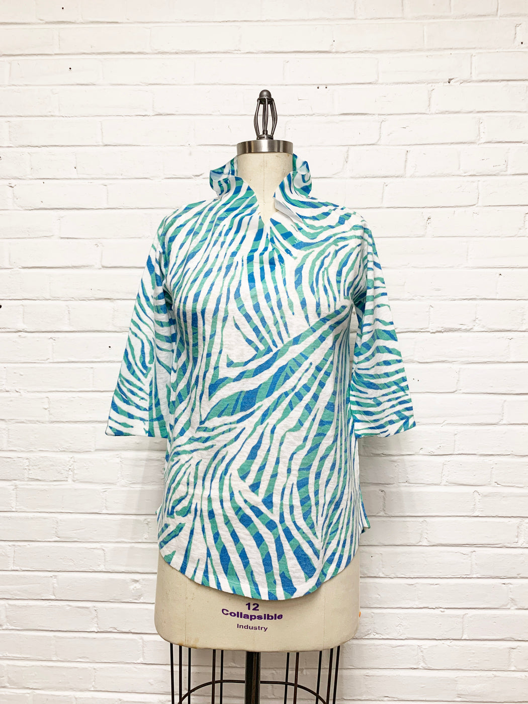 Willow Tunic in Teal Zebra Print