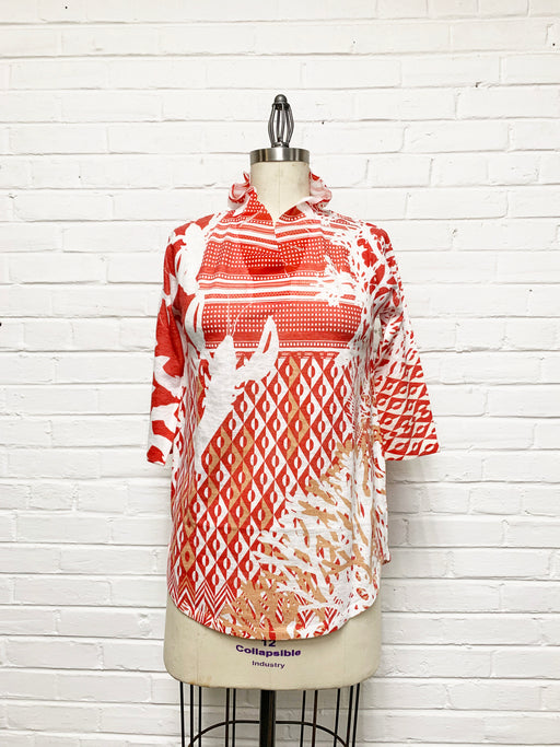 Willow Tunic in Geometric Red Coral Print