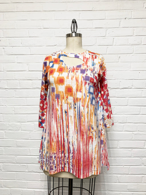 Zoe Tunic in Vibrant Watercolor Print