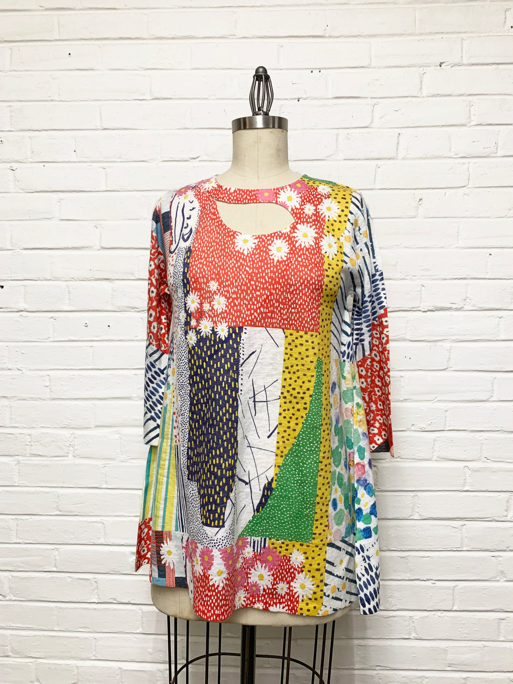 Zoe Tunic in Springtime Patchwork Print