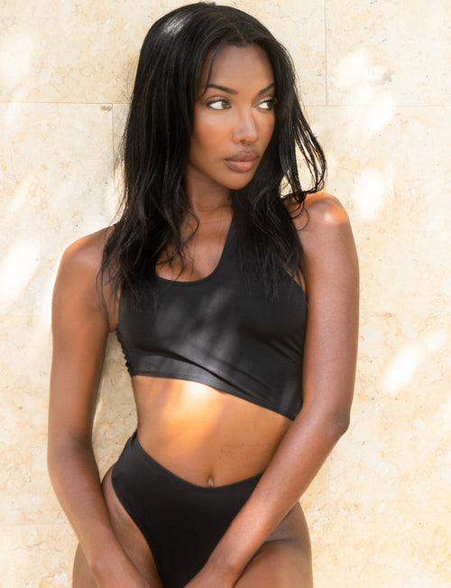Jet Black One Shoulder Swimsuit - Nubyen Swim Club