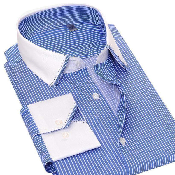 Business Casual Striped Dress Shirt-Shirt-REEMYU