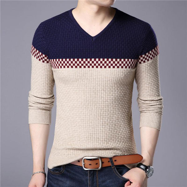 Casual V-neck Cotton Sweater-Pullovers-REEMYU