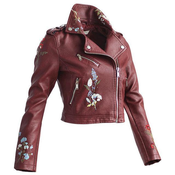 Floral Faux Leather Zipper Jacket-Jackets & Coats-REEMYU