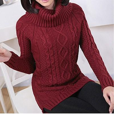 Solid Turtleneck Thick Sweater-Pullovers-REEMYU