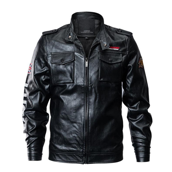 Tactical Leather Slim Military Jacket-Jackets & Coats-REEMYU