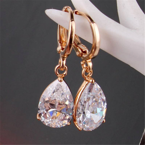 White Crystals Zircon Earrings-Earring-REEMYU