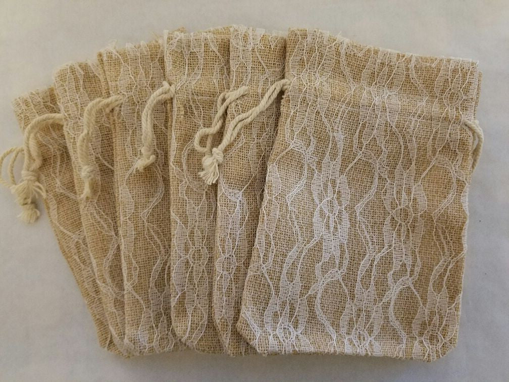burlap w/ white lace draw string bag
