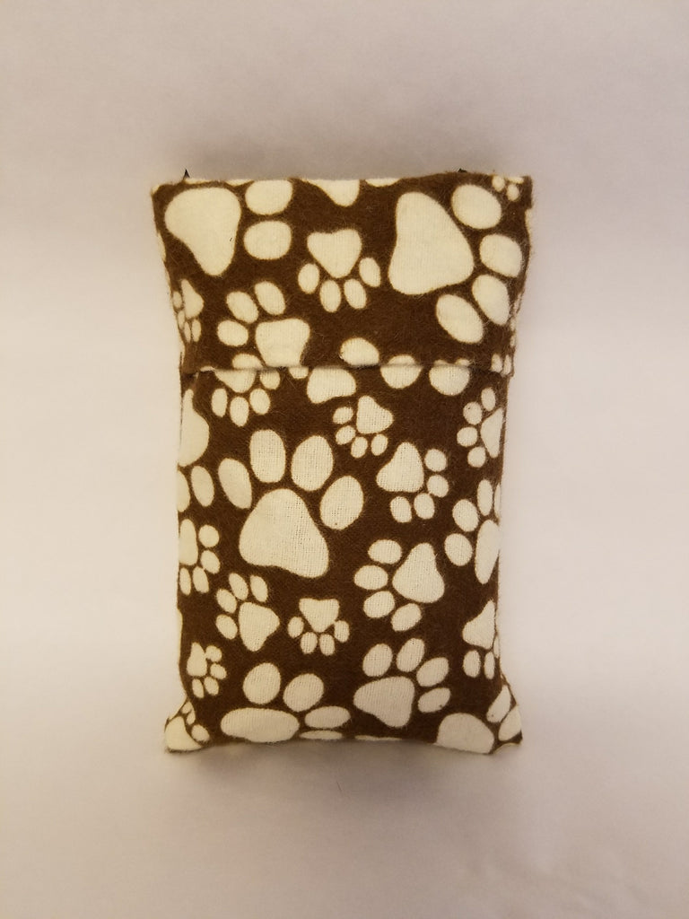 doggy paw print flannel flip top bag
