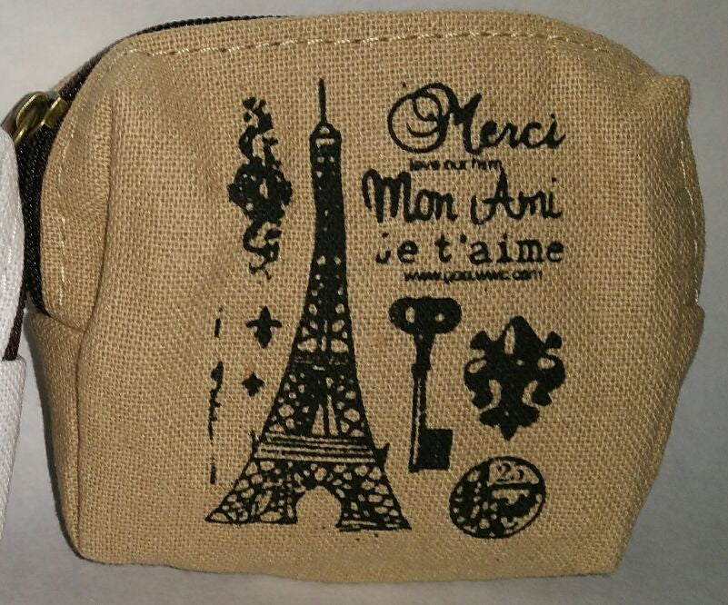 brown zipper top bag w/ paris themed print