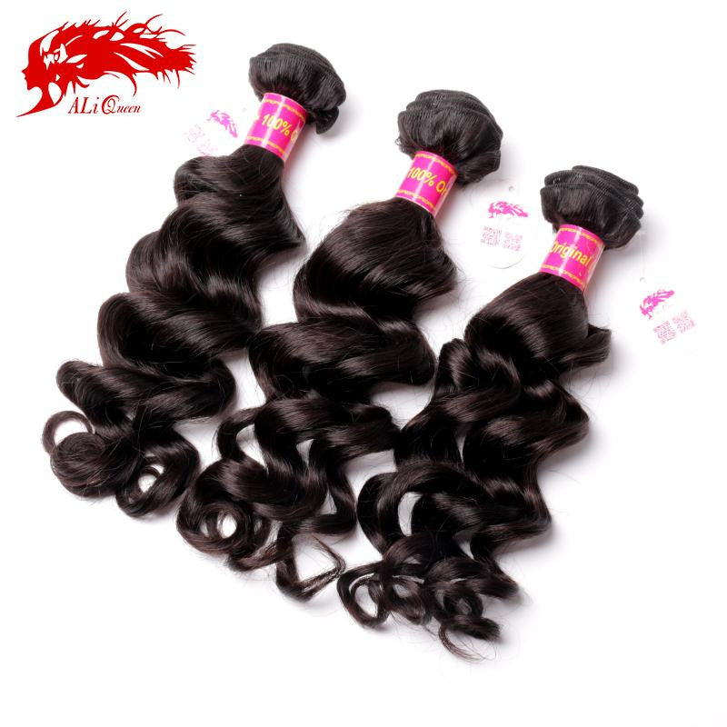 Ali Queen Brazilian Hair Weave Bundles Natural Wave Virgin Hair 3Pcs