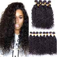 4 Bundles Malaysian Virgin Hair Water Wave 7A Unprocessed Wet and Wavy Color 1B