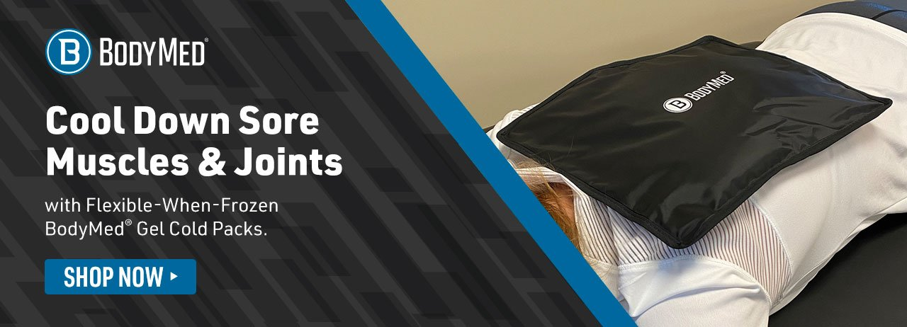 Home Page Banner Ad – Chill Out Muscle Soreness Fast with Durable & Pliable BodyMed® Blue Vinyl Cold Packs – Shop Now