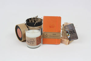 SPRING COLLECTIONS : 1 Essential Oil Candle, 1 Organic Soap, 1 Leather Journal - Spirit Spice