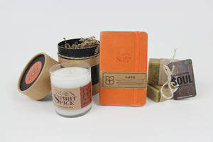 The FAITH Collection - Set of Organic Soups Handcrafted Scented Candle & Daily Planner