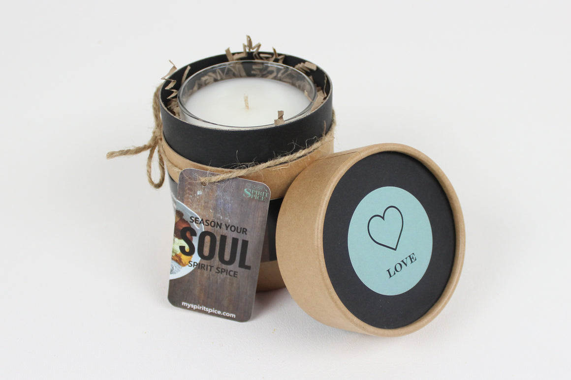 Handcrafted LOVE Scented Soy Candle 8oz with Gift Box -  Smooth, Light And Citrusy Candle Made with Essential Oils - Spirit Spice