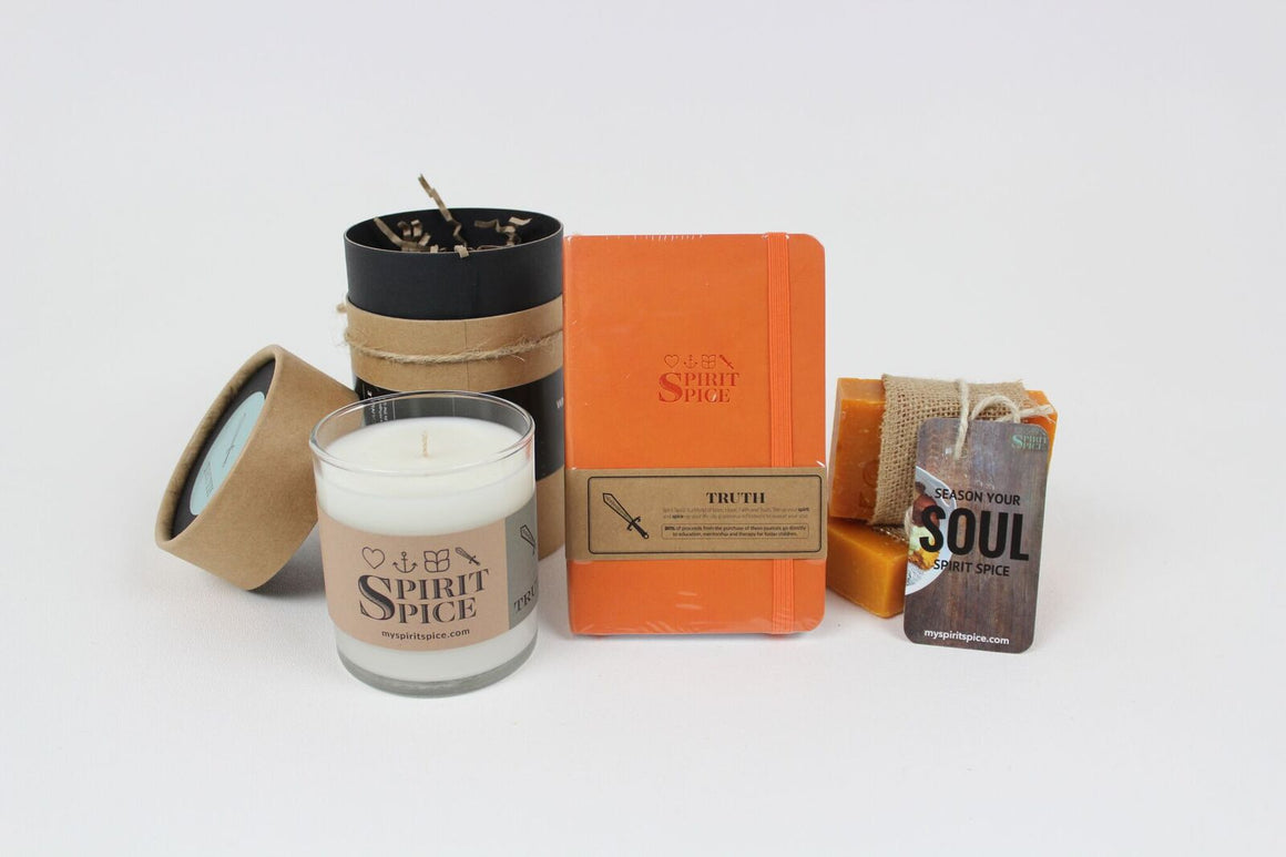 The TRUTH Collection - Set of Organic Soaps, Handcrafted Scented Candle & Daily Planner - Spirit Spice