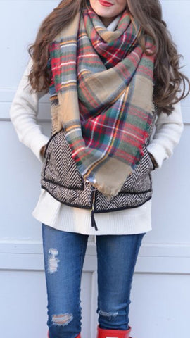Beige Plaid Blanket Scarfs!