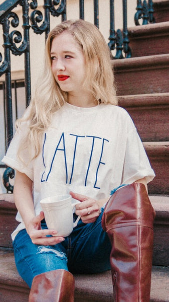 "The ""Love of Latte"" Navy Embroidered Ivory Crewneck Tee"