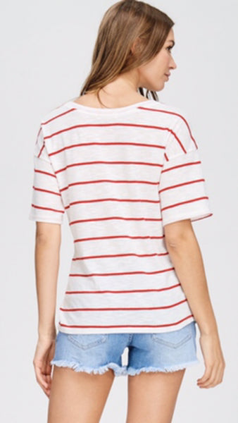 The HAMPTONS Red Striped Tie Waist Top