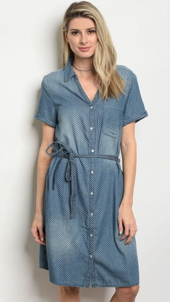 """Boy Meets Girl"" Polka Dot Denim Shirt Dress"