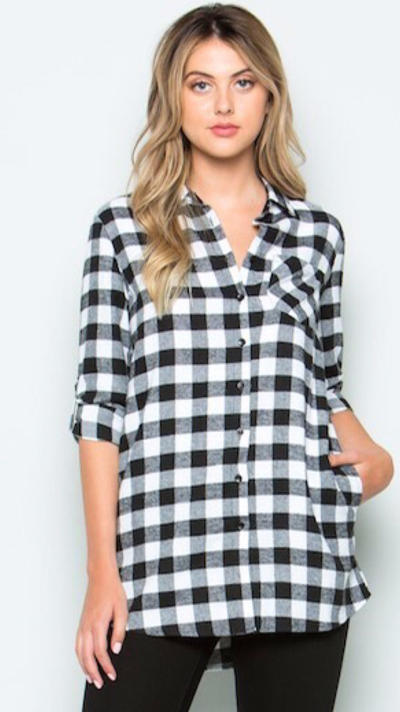 Black Buffalo Plaid Button Up Top with Pockets