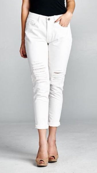 Relaxed Fit Boyfriend Distressed Jeans in Pure White