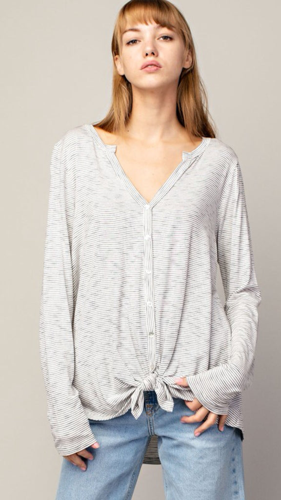The CANTER Long Sleeve Ivory Pinstripe Top