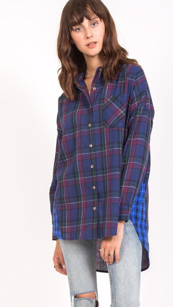 The PORTLAND Navy Plaid Boyfriend Button Down Shirt