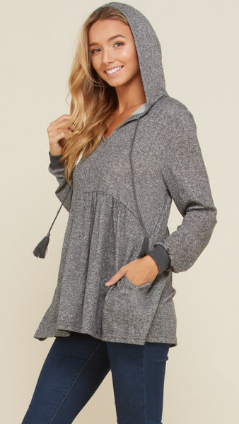 The ADDISON Heather Grey Long Sleeve Knit Hoodie Top