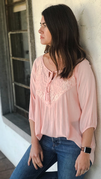 The EVERLIEGH Soft Blush Peasant Top