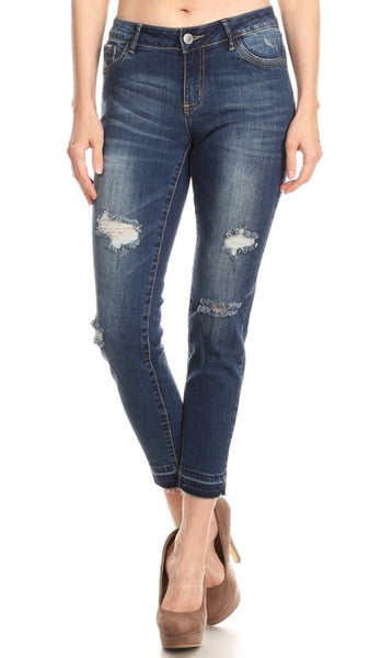 The ROADTRIP Mid Rise Distressed Skinny