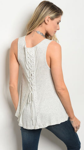 Sand Washed Heather Grey Lace-Up Tank