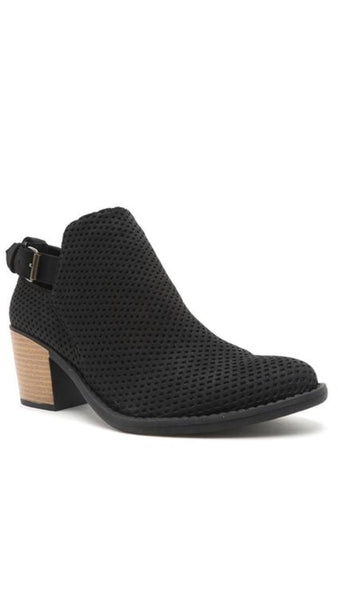 Tobin Black Perforated Buckle Booties