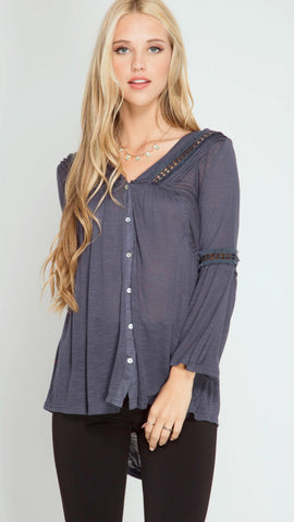 SKIES ARE GREY Button Down 3/4 Bell Sleeve Top