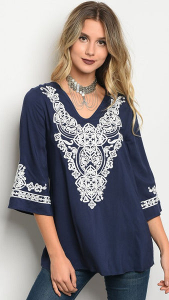 Navy Maja Embroidered Top