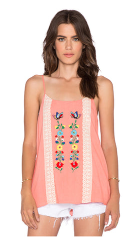 The DAPHNE Floral Embroidered Tank Top with Pockets