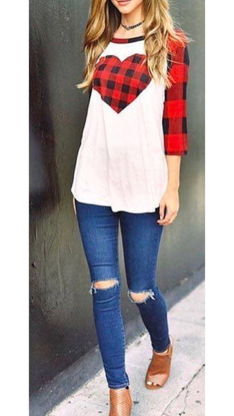 Plaid Heart 3/4 Sleeve Raglan Top