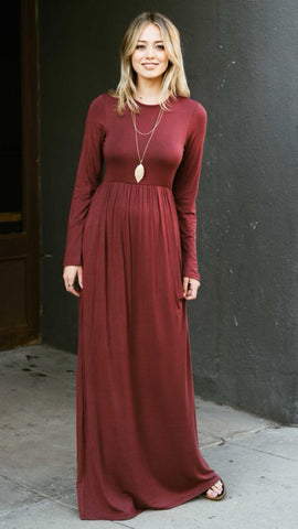 Mia Long Sleeve Pocket Maxi Dress