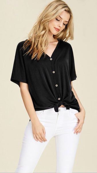 The BRISTOL Front Tie Button Down Top