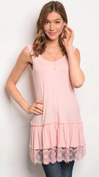 The KENNA Ribbed Tank Dress with Lace Trim