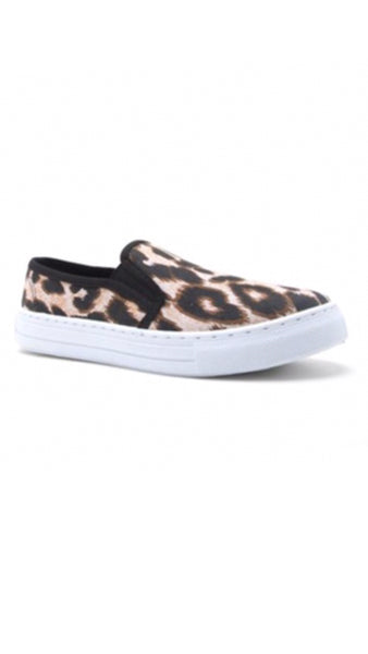 The REBA Leopard Canvas Slip-On Sneakers