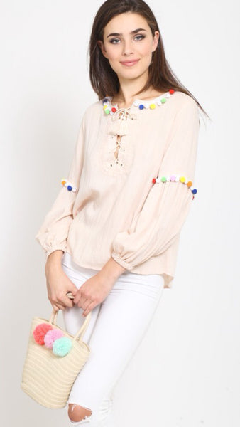 The CANCUN Pom Pom Ivory Long Sleeve Top
