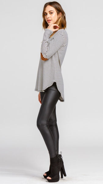 The ASPEN Navy Striped Tunic with Elbow Patch